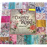 Country Road 12x12, the Paper Studio, Barnwood, Shabby, Vintage, Floral, Damask, Scrapbook, Cardmaking Paper Pack 80 Sheets (Tamaño: 12-x-12-Inch)