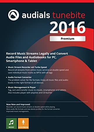 Audials Tunebite 2016 Premium: Low-price Recorder for Recording Music Streams with Audio Format Converter [Download]