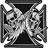 [Large Size] Papapatch Skull Devil and Angel Wings Black Cross Ghost Biker Motorcycle Jacket Vest Costume Embroidered Sew on Iron on Patch (IRON-DEVIL-ANGEL-WINGS-LARGE)