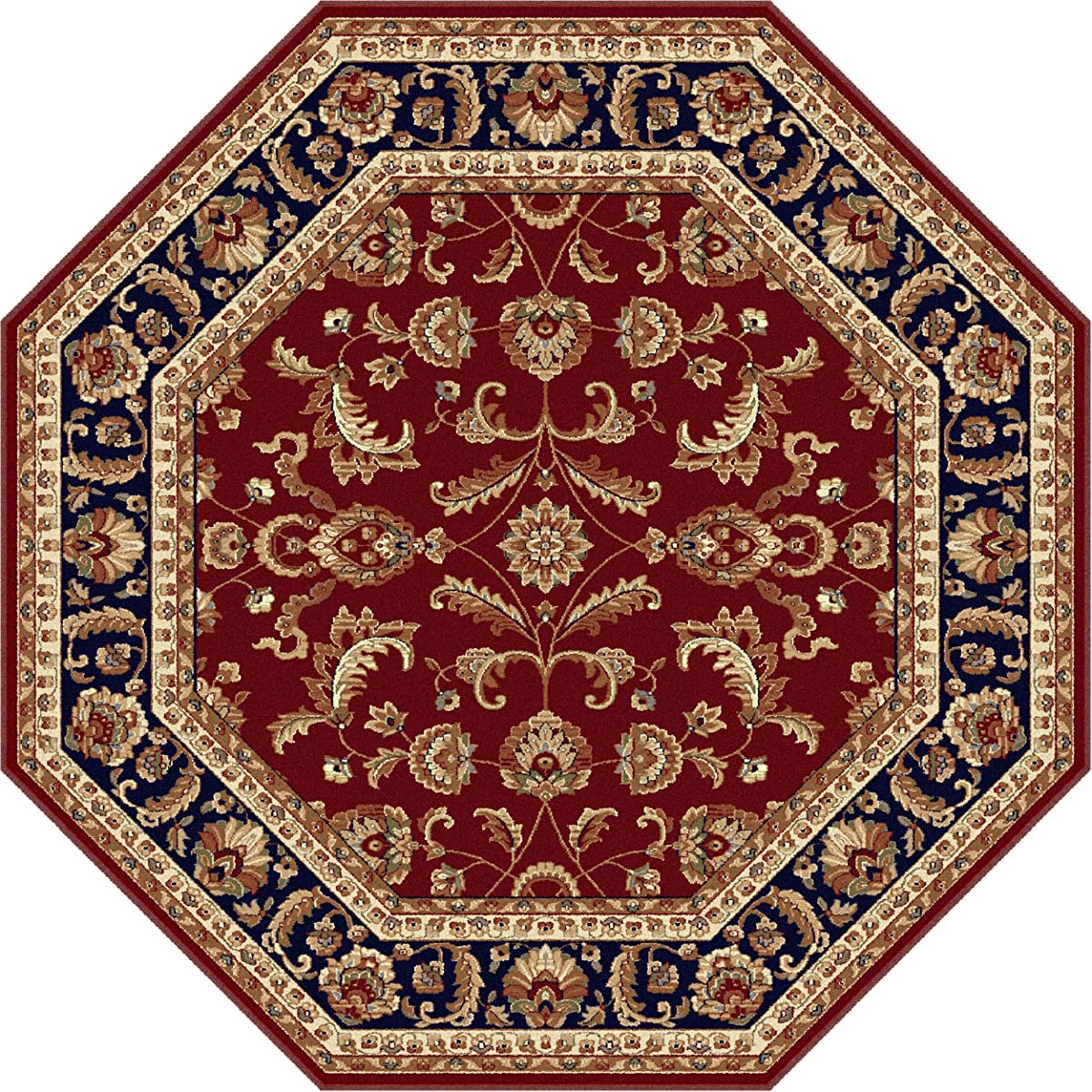 Universal Rugs Sariya Transitional Oriental Red Octagon Area Rug, 6 Octagon