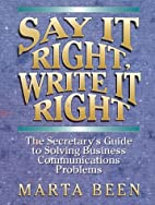 Say It Right, Write It Right: The…
