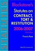 Blackstone's Statues on Contract, Tort and…