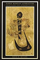 Early Korean Literature by David McCann