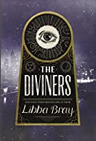 Cover art for The Diviners, featuring a black and white photo of New York at night overlaid with a keyhole-shaped title card. The card is comprised of a circle atop a slope-sided rectangle, with an eye inside the circle. The whole cover is in tones of blue and gold.