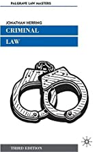Criminal Law (Palgrave Law Masters) by…