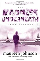 Cover art for The Madness Underneath, featuring a person walking across a nearly-bare bridge with antique streetlights on it. The cover is entirely in shades of white and purple.