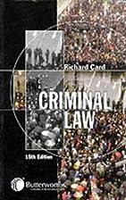 Criminal Law by Sir Rupert Cross