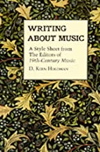 Writing About Music: A Style Sheet from the…