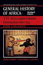 Africa under colonial domination, 1880-1935…