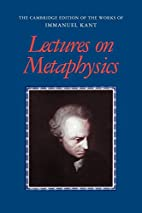 Lectures on Metaphysics (The Cambridge…