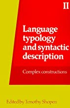 Language Typology and Syntactic Description:…