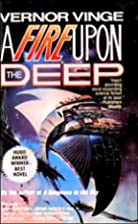 Cover art for A Fire Upon the Deep, featuring a space ship shaped rather like a silver manta ray hovering in space. The background is pink and blue with hints of smokey blackness peeking through