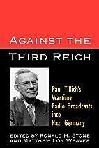 Against the Third Reich: Paul Tillich's…