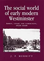 The social world of early modern Westminster…