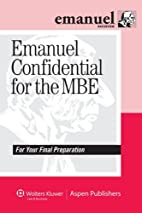 Emanuel Confidential for the MBE by Steven…