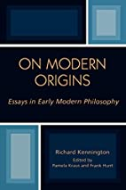 On Modern Origins: Essays in Early Modern…