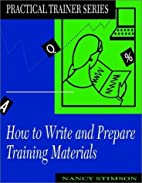 How to Write and Prepare Training Materials…