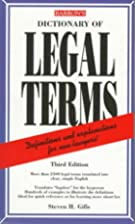 Dictionary of Legal terms by Steven H. Gifis
