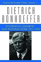 Ecumenical, Academic, and Pastoral Work,…