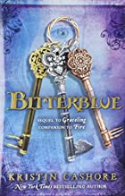Cover art for Bitterblue, featuring three elaborate keys--one gold, one silver, and one bronze--against a varigated blue and light purple background. There's dark blue scrollwork at the corners, with a girl's face showing faintly through the background near the top right hande corner. Her right eye peers through the ring that connects the three keys.