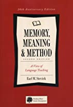Memory, Meaning, and Method: Some…