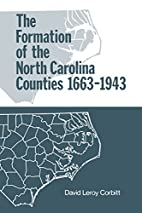 The Formation of the North Carolina Counties…