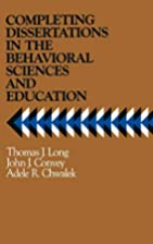 Completing dissertations in the behavioral…