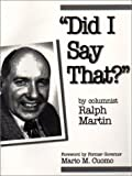 Ralph Martin: Did I Say That?