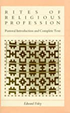 Rites of Religious Profession: Pastoral…
