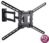 "VideoSecu 24"" Long Arm TV Wall Mount Low Profile Full Motion Cantilever Swing & Tilt wall bracket for most 22"" to 55"" LED LCD TV Monitor Flat Panel Screen VESA 200x200 400x400 up to 600x400mm - Articulating Arm Extend up to 24"" MAH"