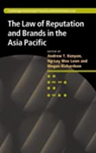 The Law of Reputation and Brands in the Asia…