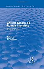Critical Essays on Roman Literature: Elegy…