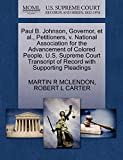 MCLENDON, MARTIN R: Paul B. Johnson, Governor, et al., Petitioners, v. National Association for the Advancement of Colored People. U.S. Supreme Court Transcript of Record with Supporting Pleadings