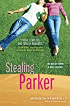 Cover art for Stealing Parker, featuring a white girl and a white boy lying on their backs on a green field, a baseball mitt between them. They're both wearing jeans. The boy wears a white t-shirt while the girl wears a pink long-sleeved t-shirt.