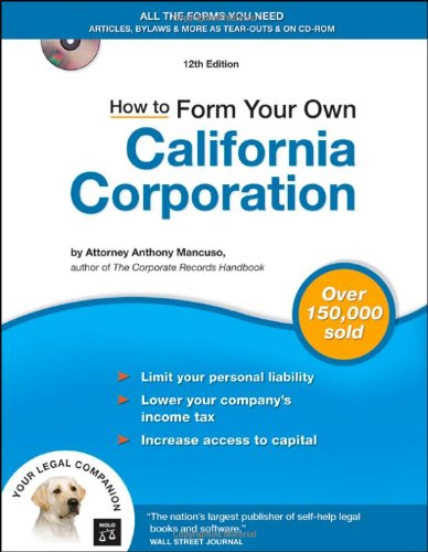 how-to-form-your-own-california-corporation-book-with-cd