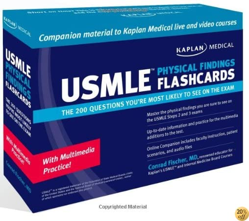 Kaplan Medical USMLE Physical Findings Flashcards: The 200 Questions You're Most: For Steps 2 & 3