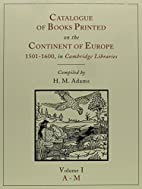 Catalogue of Books Printed on the Continent…