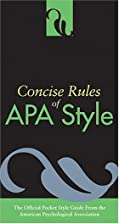 Concise Rules Of Apa Style (Concise Rules of…