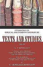 Euthaliana: Sudies of Euthalius Codex H of…