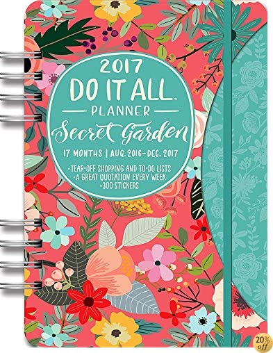 TOrange Circle Studio 17-Month 2017 Do It All Planner, Secret Garden