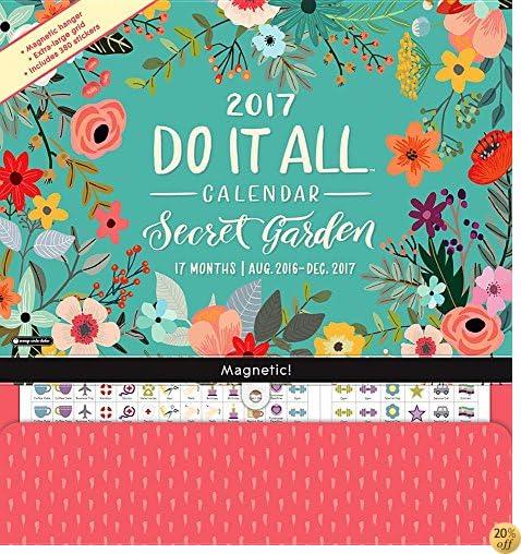 TOrange Circle Studio 17-Month 2017 Do It All Magnetic Wall Calendar, Secret Garden (Do It All Wall)