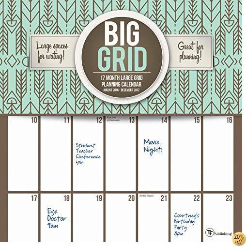 T2017 Big Grid Design 17 Month Wall Calendar