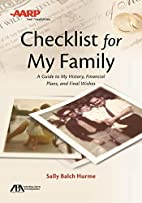 ABA/AARP Checklist for My Family: A Guide to…