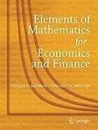 Elements of Mathematics for Economics and…