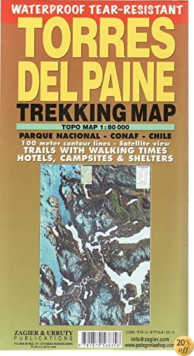 TTorres del Paine Waterproof Trekking Map (English/Spanish Edition)