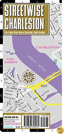 TStreetwise Charleston Map - Laminated City Center Street Map of Charleston, South Carolina - Folding pocket size travel map