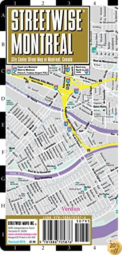 TStreetwise Montreal Map - Laminated City Center Street Map of Montreal, Canada - Folding pocket size travel map with metro map