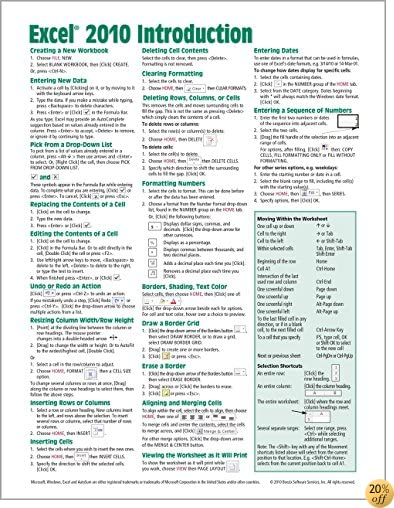 TMicrosoft Excel 2010 Introduction Quick Reference Guide (Cheat Sheet of Instructions, Tips & Shortcuts - Laminated Card)