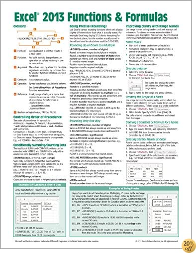 TMicrosoft Excel 2013 Functions & Formulas Quick Reference Card (4-page Cheat Sheet focusing on examples and context for intermediate-to-advanced functions and formulas- Laminated Guide)