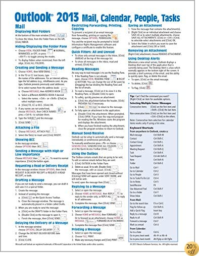 TMicrosoft Outlook 2013 Mail, Calendar, People, Tasks Quick Reference (Cheat Sheet of Instructions, Tips & Shortcuts - Laminated Guide)